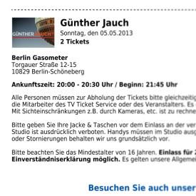 Ticketbestätigung Günther Jauch
