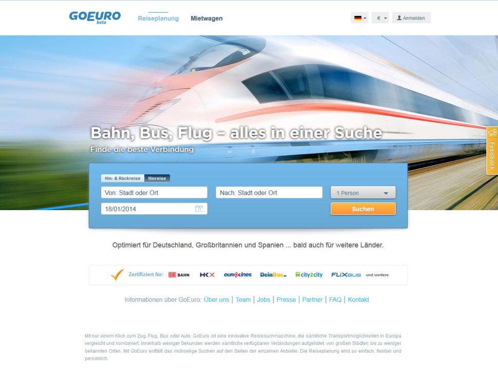 GoEuro: Bahn, Bus, Flug - alles in einer Suche