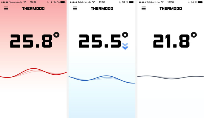 Thermodo Screenshots der iPhone-App