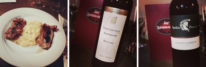 Risotto con saltimbocca, Valpolicella, Chianti Classico