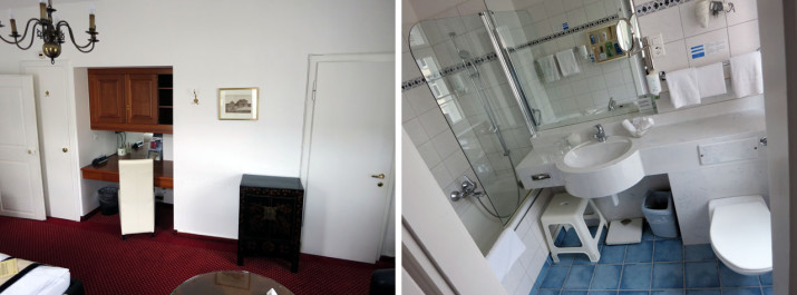 Schreibtisch und Bad, Zimmer 206
