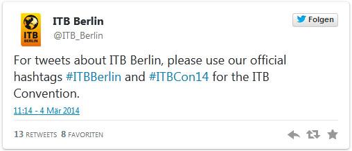 Screenshot: Tweet von @ITB_Berlin vom 4. März 2014