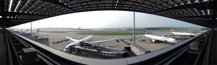 180°-Panorama auf das Flugfeld