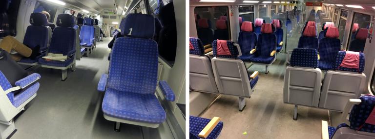 Erste Klasse im Regional-Express der Deutschen Bahn