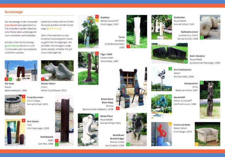 Objekte, Skulpturen und Stelen im Flyer Metzinger Kunstwege