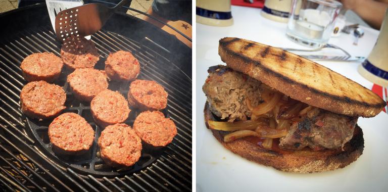 Beef-Burger mit süßen Zwiebeln