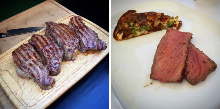 Dry Aged Black Angus Steak mit Erbsen-Fritatta