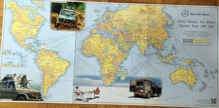 Weltkarte über Ottos Reise