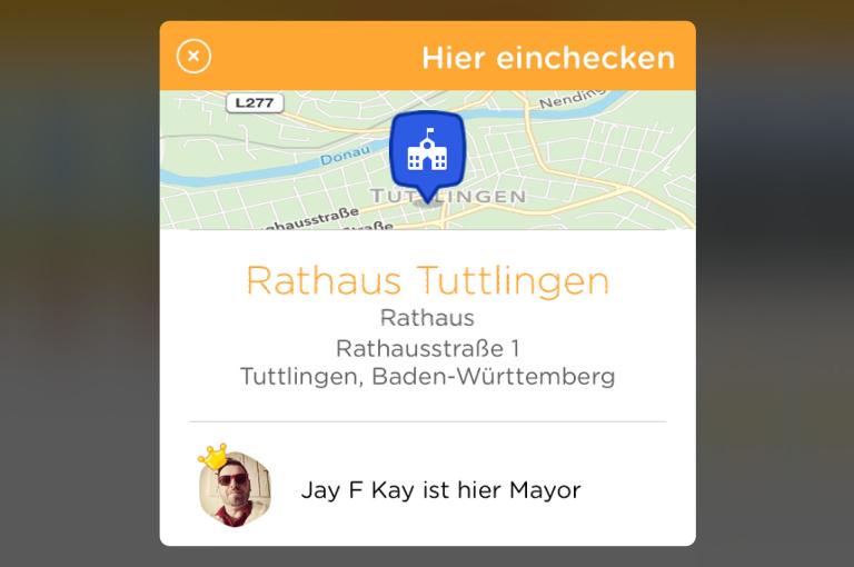 Rathaus Tuttlingen bei Swarm von Foursquare