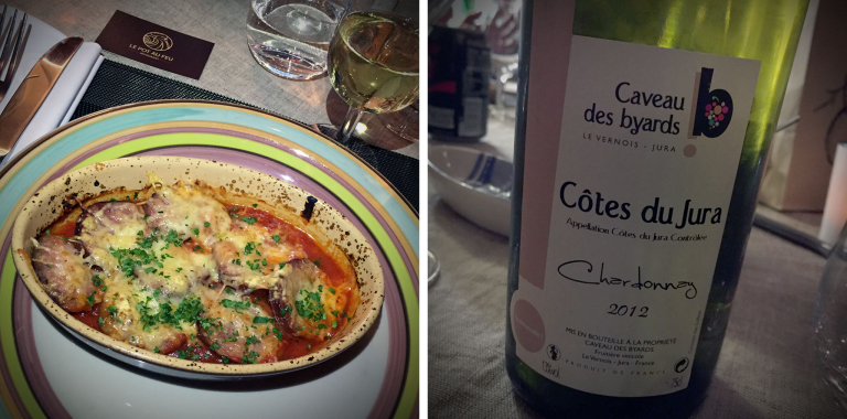 Jésu de Morteau-Gratin zu einem 2012er Chardonnay