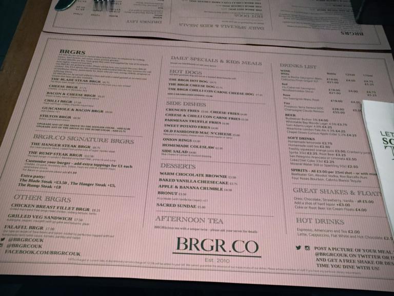 Burgerkarte bei BRGR.CO Soho