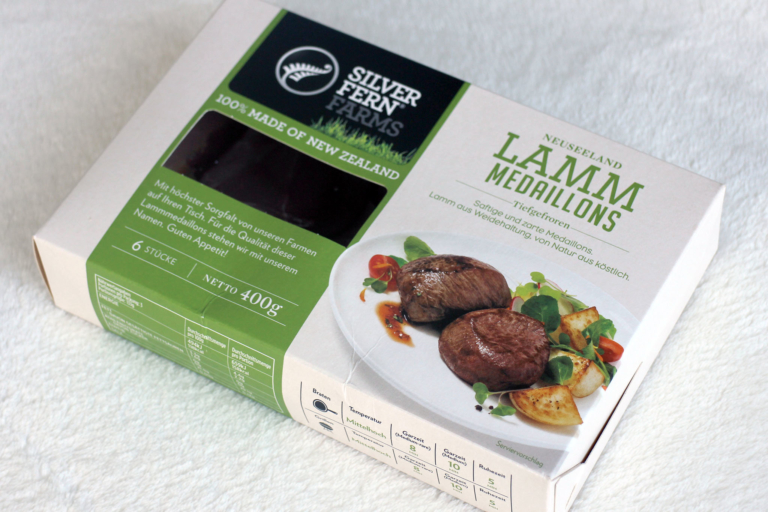 Silver Fern Farms Lamm-Medaillons in der Verpackung